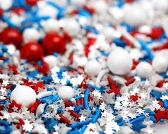 Sweet Freedom Sprinkle Blend, Patriotic Sprinkles, American Sprinkles, 4th July Sprinkles, Star Sprinkles, Edible Sprinkles, Fancy Sprinkles