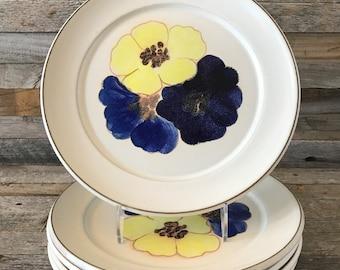 Vintage Denby Stoneware Potpourri Hue Dinner Plates