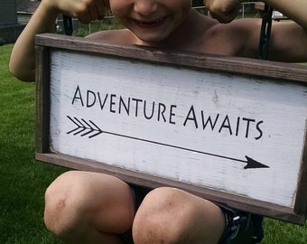 Adventure Awaits - Wooden Sign