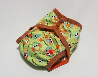 Cloth diaper cover | AI2 | all in two | one size | newborn | prefold | flat | fitted | soaker | nappy wrap | boy girl | owls