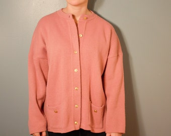 Vintage 1970's College Point Pink Knit Cardigan