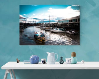 Waterfront canvas wrap, large blue sky wall art, big sailboat print, water, wall hangings