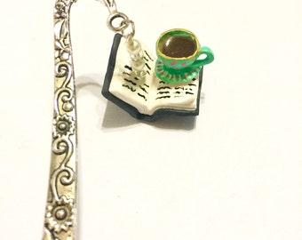 Book and Teacup Bookmark | Book and Mug Bookmark | Book Bookmark | Journal Bookmark | Relaxing Time Bookmark