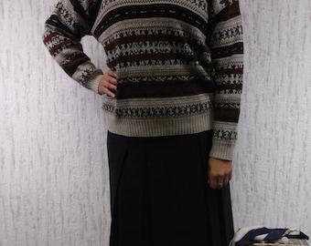 Vintage Winter Jumper Pullover Patterned Sweater