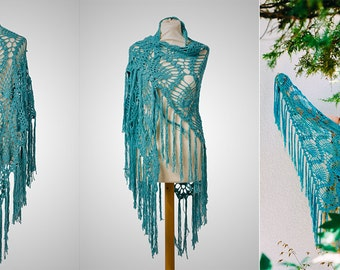 Summer Shawl, Crochet Shawl, Crochet Scarf, Lace Shawl, Boho Shawl, Boho Scarf, Festival Clothing, Festival Accessories, Prayer Shawl, Shawl
