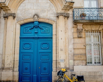 Door Detail and Bicycle, Dijon, Burgundy France, Burgundy Wall Art, Fine Art Photography, France Wall Art, Home Decor, France Photography