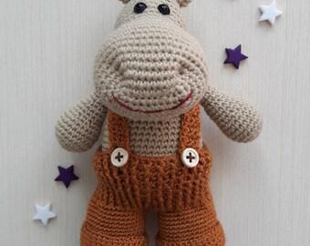 Crochet hippo Amigurumi hippo Handmade hippopotamus Gift for child Soft toy Plush hippo Stuffed hippo Dressed hippo Crochet baby toys