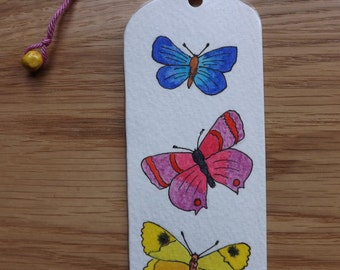 Original double-sided watercolor and pressed flower bookmark of butterflies and grasses