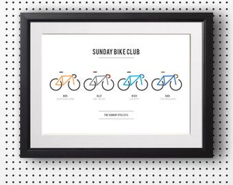 Club bike print, Cycling art, Team cycling print, Personalised bike print, Custom made, Cycling gift, A3 print, (Unframed)