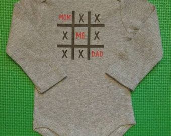 Custom Sized Me Mom Dad Tic-Tac-Toe Bodysuit, T-Shirt, Valentine's Day, Baby, Toddler, Kid, T-shirt, Shirt, Unisex, Gift