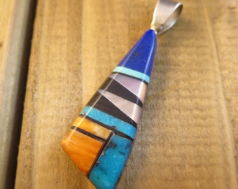 Inlaid Southwest Style Necklace Pendant 925 Sterling Silver
