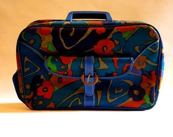 1960's Japanese overnight bag, small suitcase, mod suitcase, carry on bag, bold colors, floral pattern