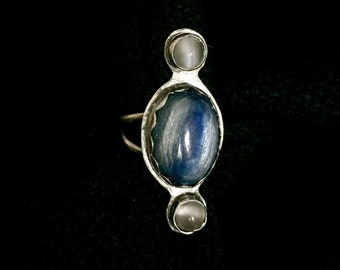 Kyanite and Moonstone Sterling Silver Ring