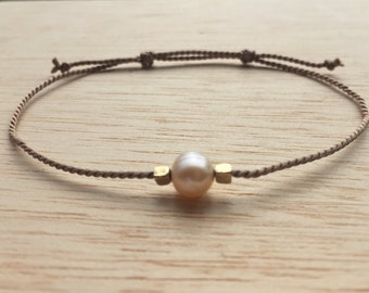 Pearl Bracelet / Silk Cord Bracelet / Dainty Bracelet / Bridesmaid Gift / Shower Gift / Party Favors / June Birthstone / Friendship Bracelet
