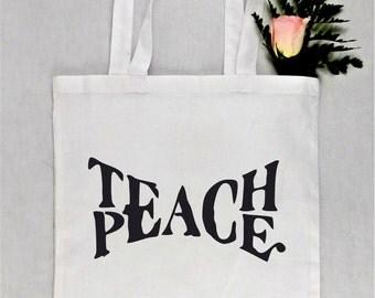 Teach Peace Grocery Bag, Reusable Grocery Bag, Reusable Tote Bag, Market Bag, Teach Peace Tote Bag, Grocery Bag Reusable