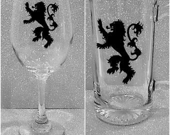 Game of Thrones Gift, Set of 2 glasses - Game of Thrones wine glass and beer mug, Game of Thrones beer mug & wine glass