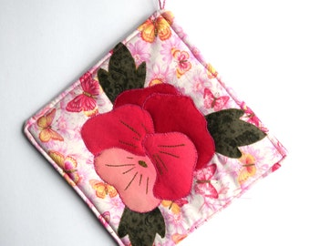 Handmade Potholder with Insulated Heat Resistant Lining and Flower Applique