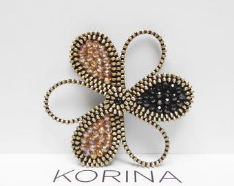 Flower Zipper Brooch - Zipper Jewelry - Glass Bead Jewelry - Industrial Jewelry - Black and Gold