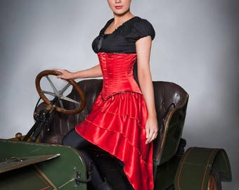 Red satin Victorian Steampunk Burlesque bustle underbust laced steel boned corset dress 20-40 inches