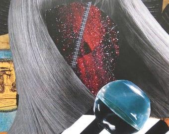 Collage Girl II, 20X26 cm, surrealism, Collage art, wall art, modern art, fashion wall art