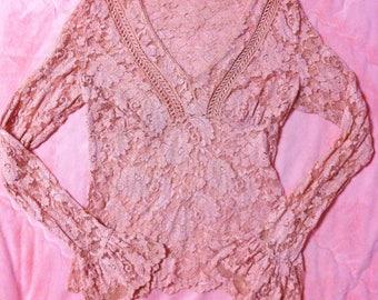 90s Vintage Pink Floral Lace Top, 90s Vintage Pink Lace Top, Pink Lace Blouse, Vintage Lace Blouse, Pink Blouse