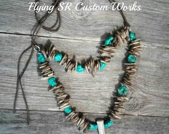 Rustic Turquoise and Axis Necklace