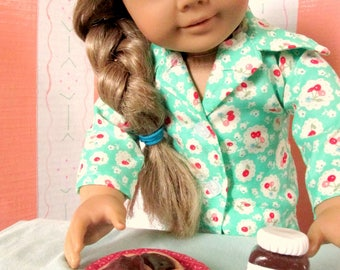 "American Food 18"" Girl Doll Breakfast Toast 18 inch doll Chocolate Hazelnut Toast with Strawberries, Snack Plate, Doll Accessories"