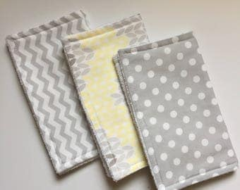 Baby Burp Cloths Set of 3, Baby Shower Gift, Gender Neutral Burp Cloths, Terry Burp Cloths, Burp Rags, Gray/Yellow, Baby Gift, FAST shipping