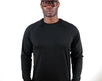 In bi-material fleece and Achille wax man sweater