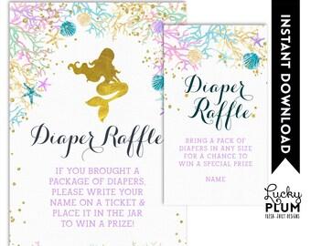 Mermaid Diaper Raffle / Ocean Diaper Raffle / Nautical Diaper Raffle / Starfish Diaper Raffle / Under the Sea / DIY Printable MD02
