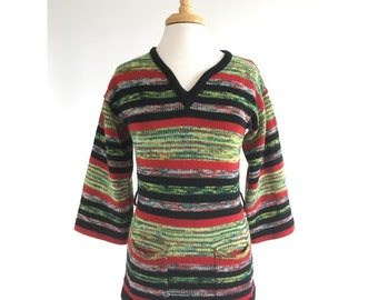 70s Bohemian Bell Sleeve Sweater Tunic XS Small POCKETS Vintage Rasta