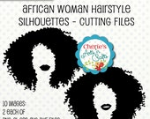 African Woman Hairstyle Silhouettes | Women Silhouettes | Silhouettes | Silhouette Clipart | Afro Hairstyle Silhouettes | Black Hair Clipart