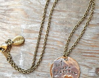 Grateful Heart - Rustic Silver Soldered & Hand Stamped Brass Necklace