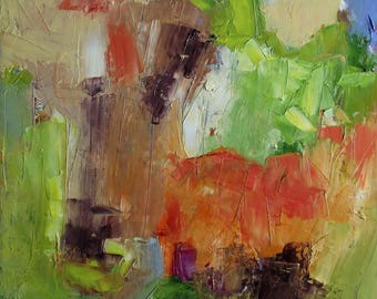 Abstract oil painting, colourist, square, green, warm red, dark brown, blue, 16 x 16