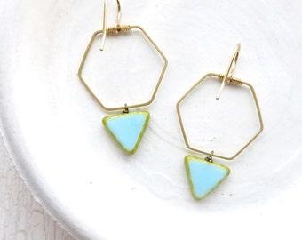 Minimalist Earrings / Triangle Earrings / Hexagon Earrings / Bohemian Earrings / Tribal Earrings / Simple Earrings / Drop Earrings / Boho