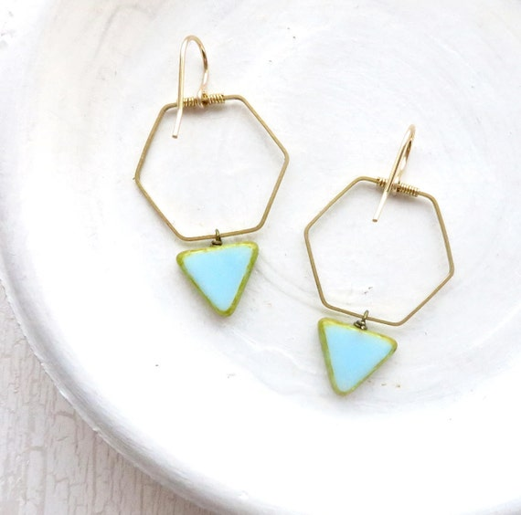 Hexagon Earrings > Blue