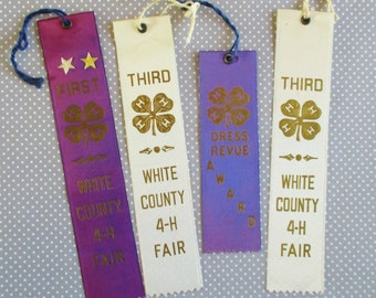Four Vintage Ribbons - White County 4-H Fair Ribbons 1957