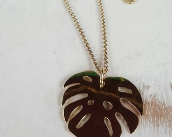 """Philodendron Monstera Tropical Leaf Necklace handcut brass on 30"""" chain"""