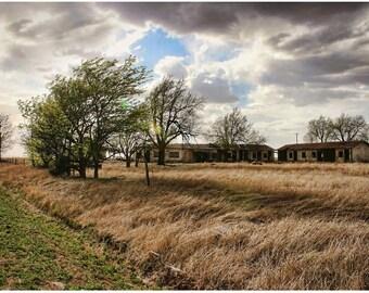 Abandoned Route 66 Motel Photograph - 7x10 Lost Texas Art Photo - Windswept Plain - Roadside America Photography - Forgotten Route 66 Art
