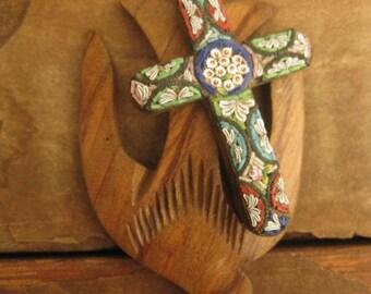 Peace ~ carved wooden bird mosaic cross gemstone summer necklace