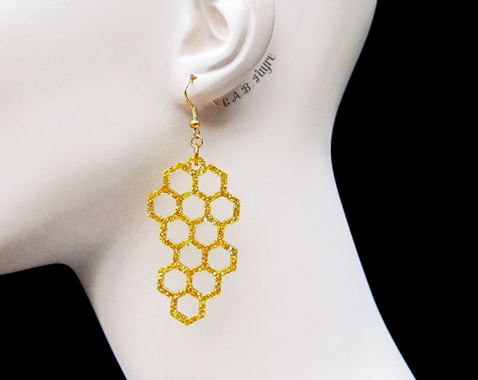 Featured listing image: Honeycomb Earrings - The Bee's Knees Collection - Bee Earrings - Laser Cut Earrings (C.A.B. Fayre Original Design)