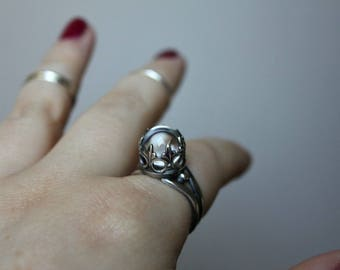 Crystal ball ring - sterling silver ring - gothic ring - magic ring - everyday ring - quartz sphere - medeival ring - renaissance