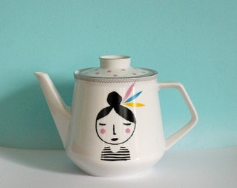Medium/large sized girl with feathers in her hair screenprinted vintage teapot