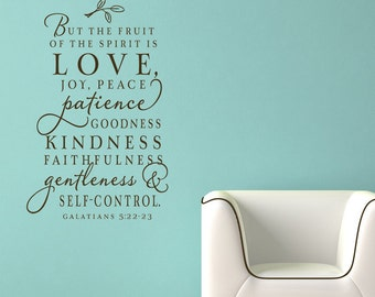 The fruit of the Spirit wall decal,  Christian wall decal - scripture wall decals - Christian wall art - christian home decor