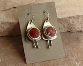 Deep Red Variscite Stones in Rustic Sterling Silver Wrapped Bezels Relic Dangle Earrings  . Rustic Boho Tribal Southwest Style Jewelry