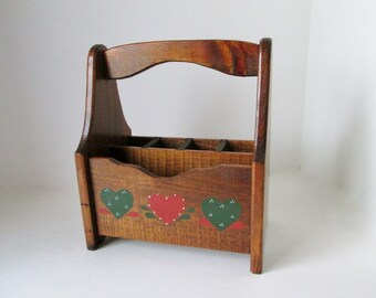 Rustic Wood caddy, country utensil holder, letter box organizer, kitchen cutlery box, coupon centre, napkin mail holder, folk art carrier