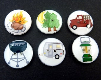 6 Camping Themed Handmade Buttons for Sewing. Camper Trailer Buttons. Truck, Barbeque, Camper, Lantern, Trees and Camp Fire.