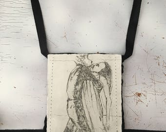 Etching harness silk pouch art jewelry necklace