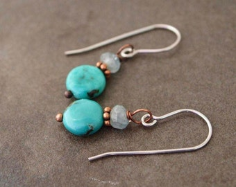 Moss aquamarine and Turquoise Earrings