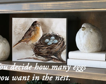 personalized gift for her gift for mom gift for grandma gift under 30 Nest painting nest bird nest painting CANVAS LARGE watercolor art h